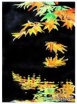 Falling Leaf Reflection (watercolor painting) by eyeqandy