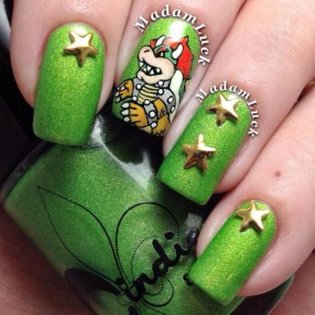 Bowser nail art by MadamLuck