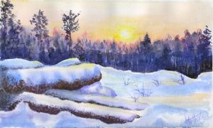Winter landscape 14. Watercolour. by alartstudio