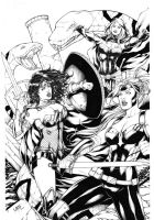 Wonder Woman and Artemis vs Circe by Leomatos2014