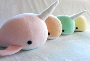 Narwhal and Whale plush partyy by ValkyriaCreations