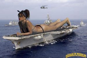 Giantess Rihanna on the water by lowerrider
