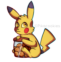 Pika with cookies by Pikacookieschu