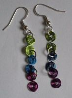 coloured wirework earrings by MadDani