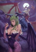 Morrigan and Lilith Sketch by Aragah
