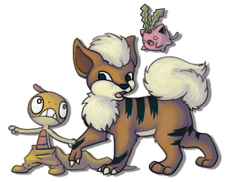 Growlithe Scraggy and Hoppip by BakaMichi