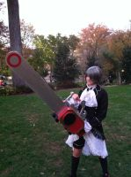 Ciel with Grells chainsaw by SailorDerp