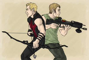 HAWKEYE and DARYL DIXON by LadyNorthstar