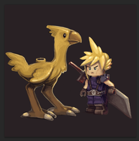 LEGO Cloud and Chocobo by MuttInkDreams