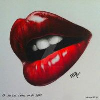 Drawing - 'A valentines day kiss'. by MarinaPalme