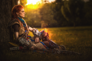 Resting- Aloy from Horizon Zero Dawn by MadameSkunk