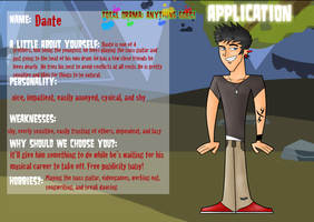 Total Drama: Anything Goes - Dante Application by Markiehh