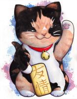 Maneki Neko Cat by DablurArt