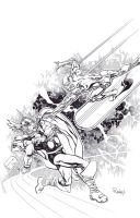 Thor vs Silver Surfer by TomRaney