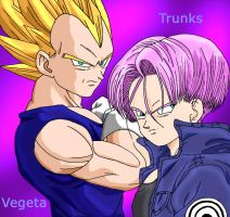 Vegeta and Trunks by bayoubabelsu