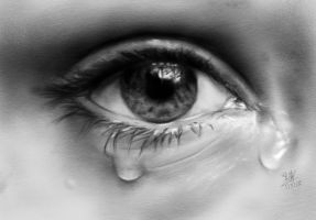 Ipad finger painting of a teary eye by chaseroflight
