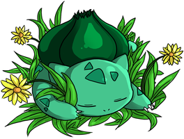 Sleeping Bulbasaur by dragonicwolf