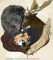 The Stag and the Wolf - color by sketchditto