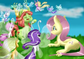 MLP: Chilling with Breezies by Itarra