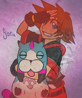 Sora and his little Nyan by Pon3Splash