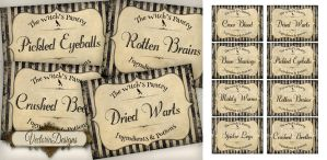 Printable Witchs Pantry Labels for Halloween! by VectoriaDesigns