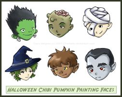 Halloween Chibi Faces by charfade