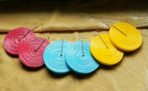 Colored paper earrings by OmbryB