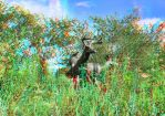Some Deer Statues at The Forks 3D Anaglyph by Joe-Lynn-Design