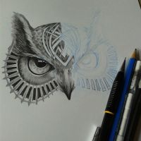 Owl design for a tattoo, wip by Daviddleonluis