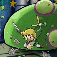 Link VS Big Green ChuChu and a HUGE HEAD by Blopa1987