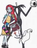 Jack Skellington, Sally, and Zero by sonicshadowlover13