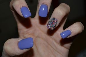 Purple Nails with Full Multi Coloured Caviar Nail by Bexiieeee