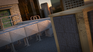 Sunset Rooftop Blender 3D by Piplington