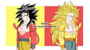 Original SuperSaiyan 4 VS Alternate SuperSaiyan 4 by Renow54