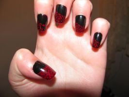 Lace,Snakeskin Nail Art by psycopathicXclown626