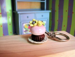 Miniature Cupcake keychain by Miss-Millificent