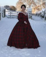 red wool 1850s dress by Abigial709b