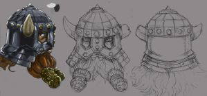 Dwarf Helm Concept by DKuang