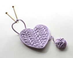 Polymer Clay Knitted Heart by ChroniclesOfKate
