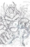 Fin Fang Foom VS Iron Man by wrathofkhan