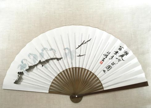 Flock of Blue Snow Birds, Handpainted Japanese fan by catherinejao