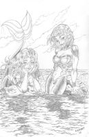 mermaid attack pencils by liunors