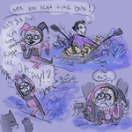 batman handles a soaking Harley quinn by Hi3ei