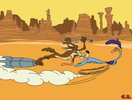 Wile E. Coyote and Road Runner by GabeRios