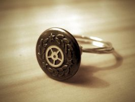 Cog Button ring by StaticSkies