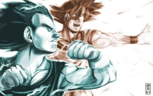 DBZ-Vegeta and Goku attack by Goldman-Karee
