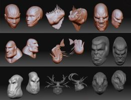 Quick Zbrush Sculpts by Cok3ster