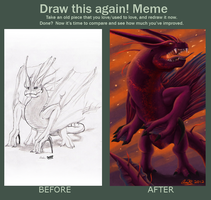 Comparison Meme: Dragon Sketch 2007/2012 by BloodyDragon117