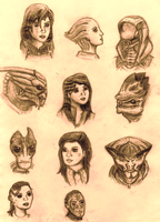Mass Effect Character Sketches by Sketchy-raptor