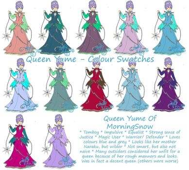 Queen Yume - Colour Swatches by kittyocean
